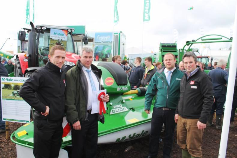The McHale Pro Glide F3100 receives the Rossette award, Pictured from left to right are Martin Minchin, IFJ, James Heanue, Irish Sales Manager, McHale, Paul McHale , Marketing Manager at McHale, and James Maloney from The IFJ